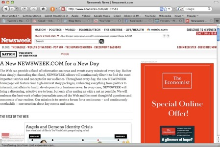 newsweek web page with the economist ad