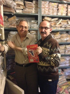 With Henry Matthews and his collection of comics.