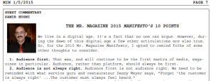 The Mr. Magazine™ Manifesto 2015 as it appeared in min:media industry newsletter Jan. 5, 2015