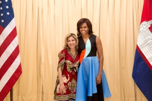 First Lady Michelle Obama participates in a photo line at the U.S. Embassy in Seim Reap, Cambodia, March 22, 2015. (Official White House Photo by Amanda Lucidon)