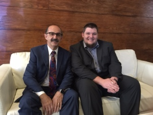 "Samir ""Mr. Magazine™"" Husni with South Africa's The Media On Line reporter Michael Bratt"