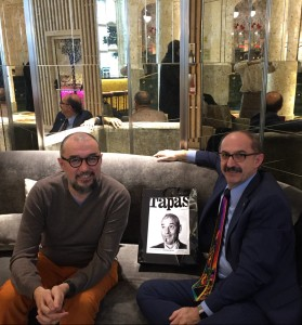 Andrés Rodríguez and Samir Husni at the lobby of the NH Collection, Prado Plaza, Madrid, Spain