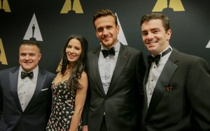Cameron Connors, Olivia Munn, Jason Segel, Ryan D'Agostino, photo by Eric Heimbold.