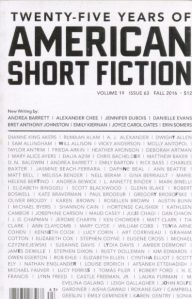 American Short Fiction. 25 Years Old