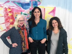 The Curious Jane team: Melisa Coburn (L) – editorial, Samantha Razook Murphy (M) brainstorming, projects and layout, and Elissa Josse (R) –  artwork, doodles, layout and project creation.